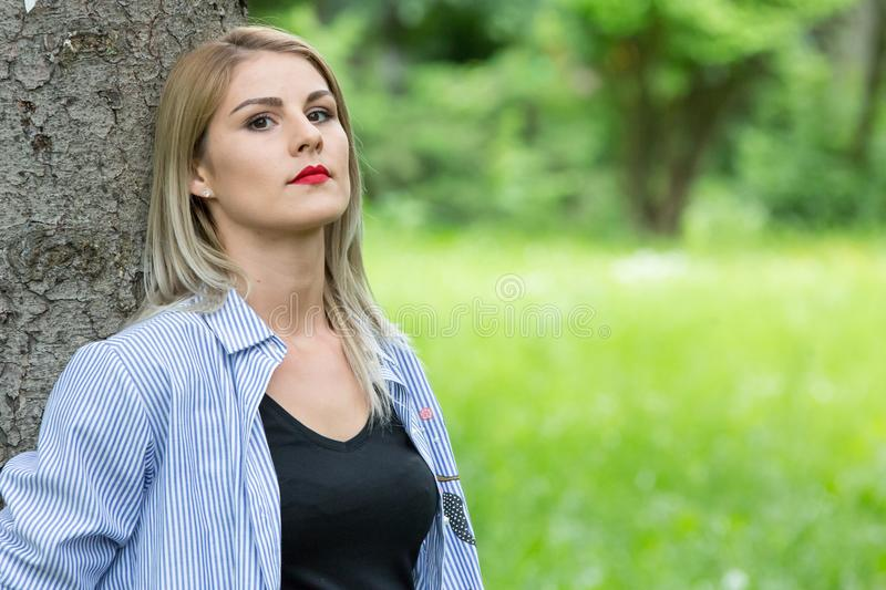 A wonderful summer day with a beautiful girl. In a park in Transylvania stock photos