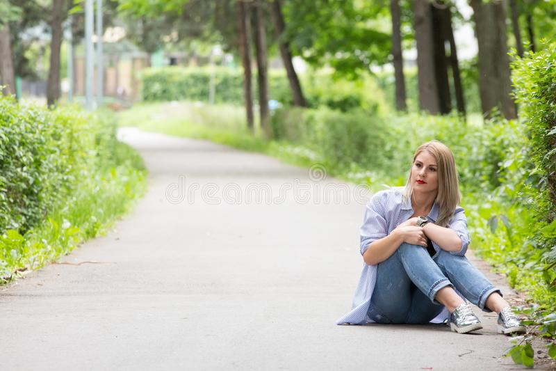 A wonderful summer day with a beautiful girl. In a park in Transylvania royalty free stock images