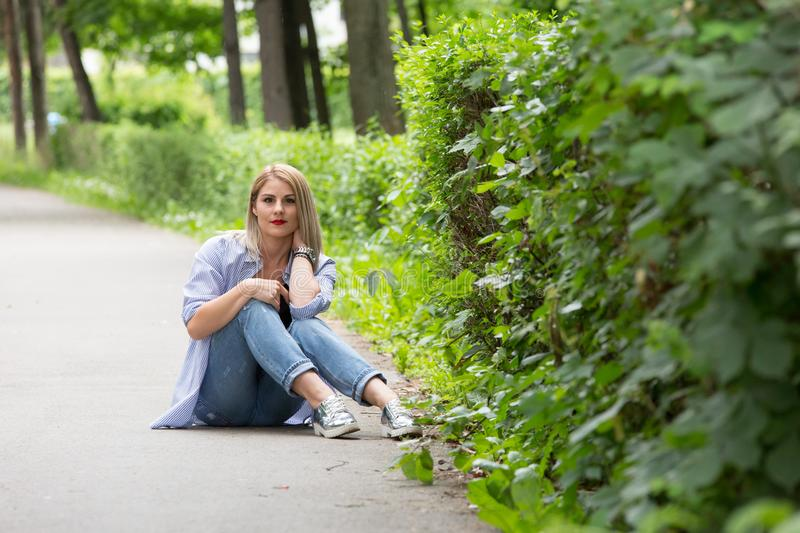 A wonderful summer day with a beautiful girl. In a park in Transylvania royalty free stock photo