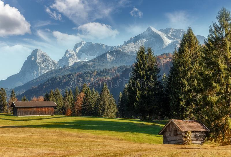 Wonderful Summer Landscape in Bavarian Alps with perfect sky. Awesome Alpine Highlands in Autumn in Sunny day . Amazing Nature. Scene With Alpine valley and stock photography