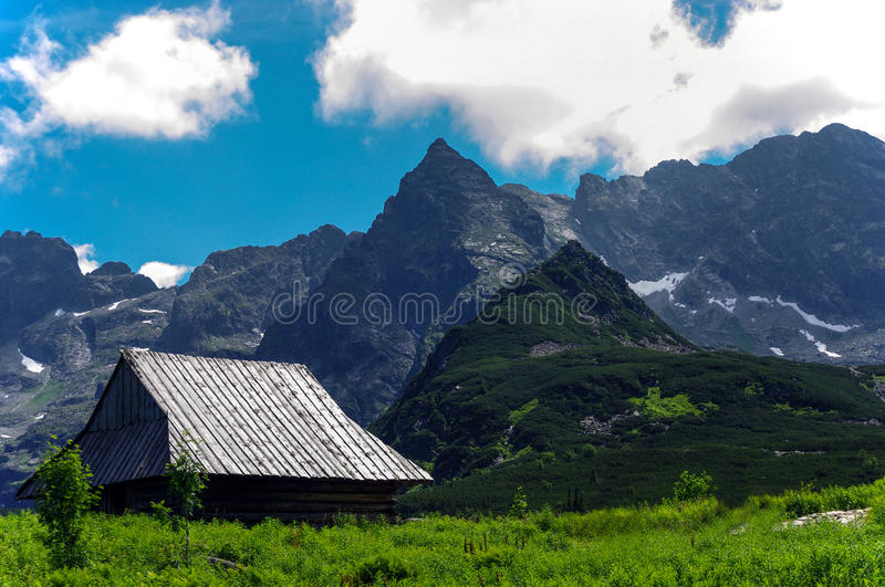 Wonderful summer view of the great mountain peaks. Tatry. Poland royalty free stock photography