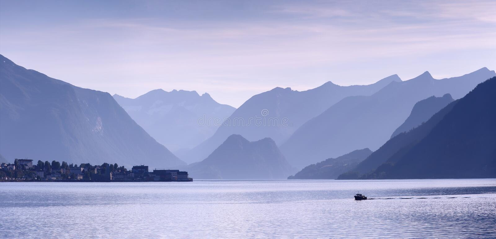 Wonderful view of norvegian fjord, Romsdalfjord near Andalsnes. Silver silhouettes royalty free stock photography