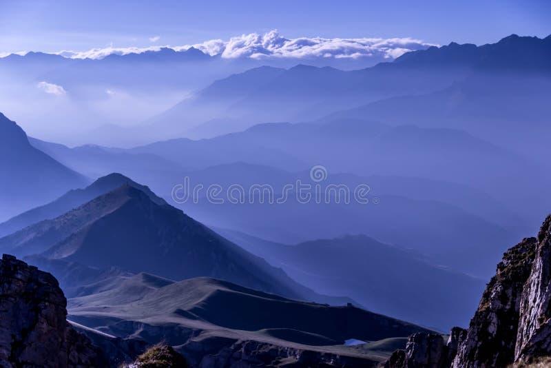Earlu morning wonderful sunrise lights in the mountains royalty free stock photo