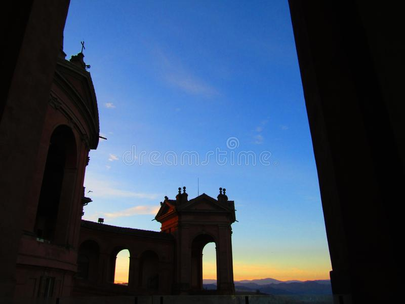 Wonderful sunset in Bologna in Italy seen by saint Luke basilique royalty free stock photos