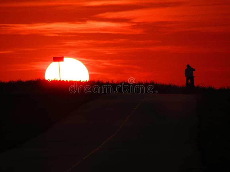 A wonderful sunset in Chelm in Poland stock photography