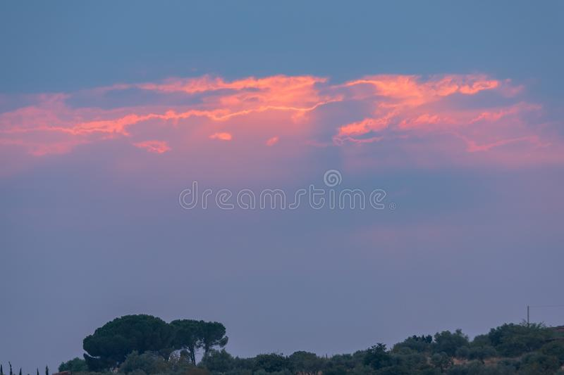 Wonderful Sunset in the Clouds, Sicily, Italy, Europe stock images