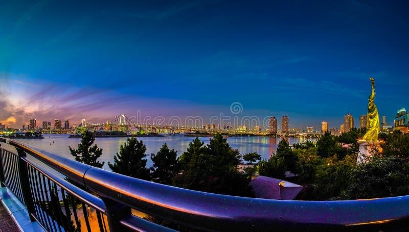 Wonderful sunset at Odaiba pier, Tokyo. royalty free stock photos