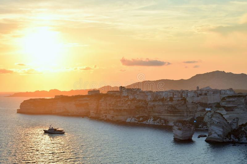 Wonderful sunset with a view of Bonifacio Corsica, France. Beautiful landscape of the the Lavezzi islands with crystal clear water in Corsica royalty free stock photography