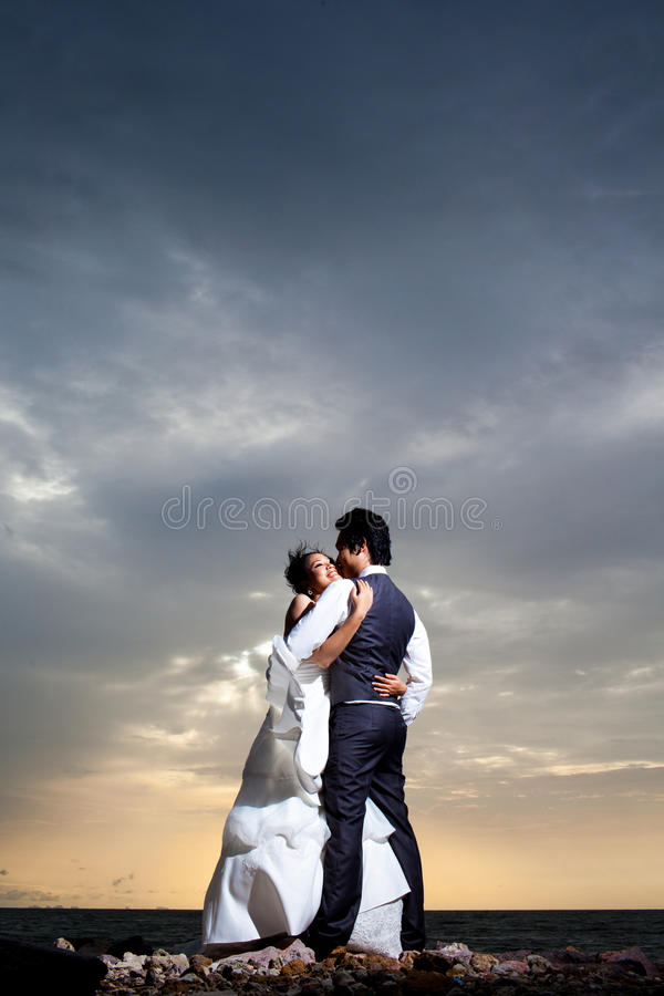 A wonderful sunset and a warm loving hug. What could possibly be better stock images