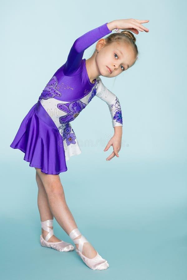 Wonderful sweet girl seven years dancing royalty free stock images