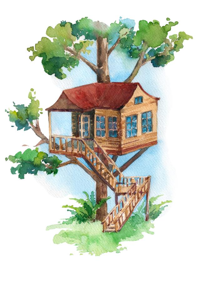 Wonderful treehouse with stair in the forest. vector illustration