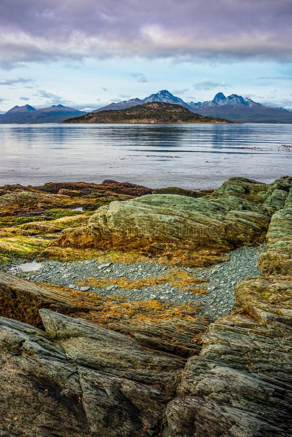 Wonderful turquoise coastal landscape of Tierra del Fuego National Park, Patagonia, Argentina, autumn stock photo