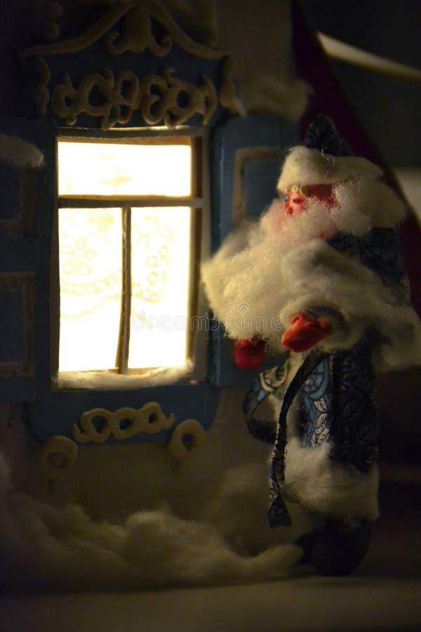 Santa Claus and wonderful New Year night royalty free stock photos