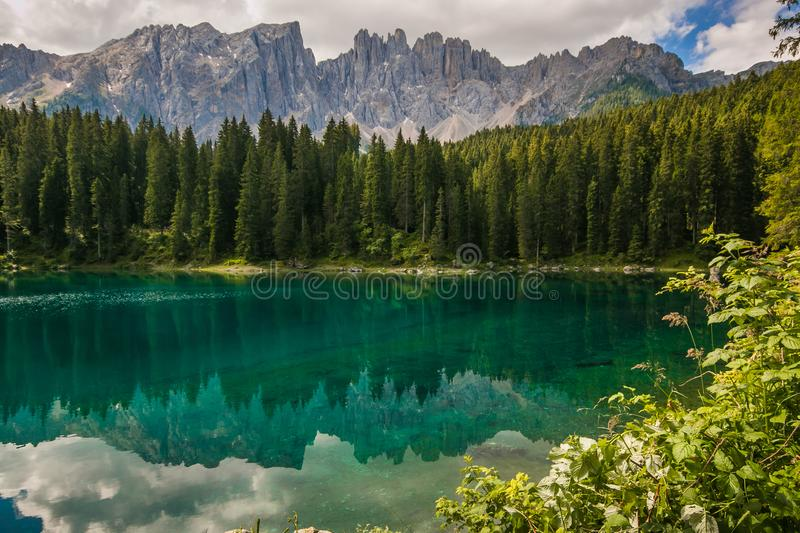 Wonderful view of Carezza lake Karersee near Nova Levante, Trentino Alto Adige. Italy, Europe stock photo