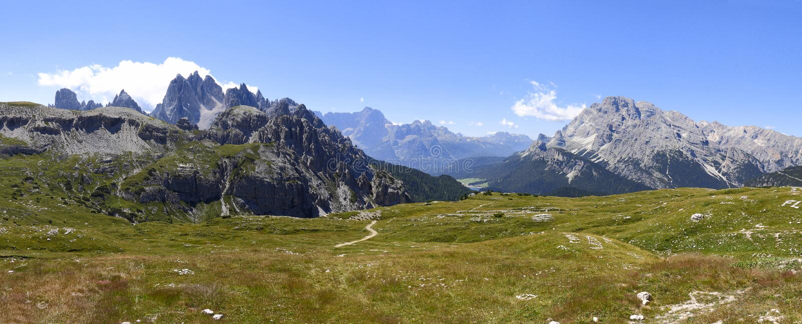 Wonderful view of the Dolomites - Trentino Alto Adige on the Nat. Ional Park Sexten Dolomites Italy royalty free stock image
