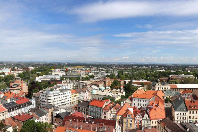 Wonderful view from historical tower in Hradec Kralove. Market square and historical part of town. Ancient houses alternating with. Trees. Ecological city in stock photo