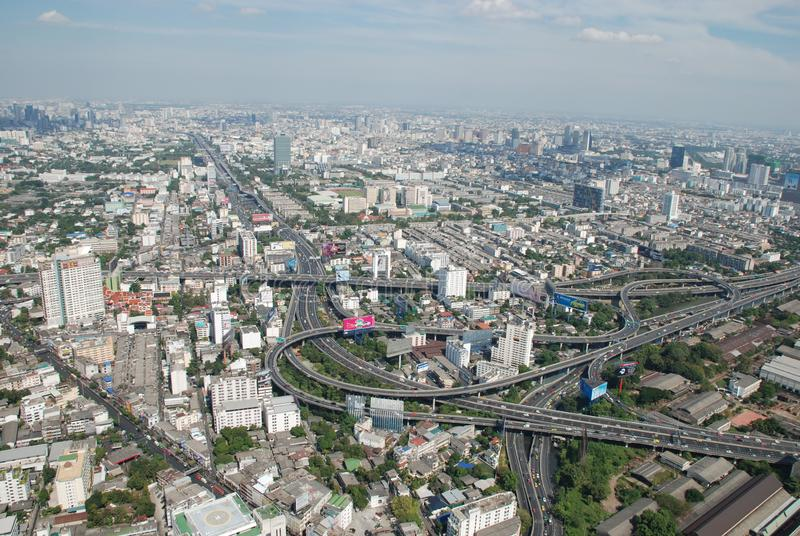 Wonderful view of the huge Bangkok from the top floor of the skyscraper stock photo