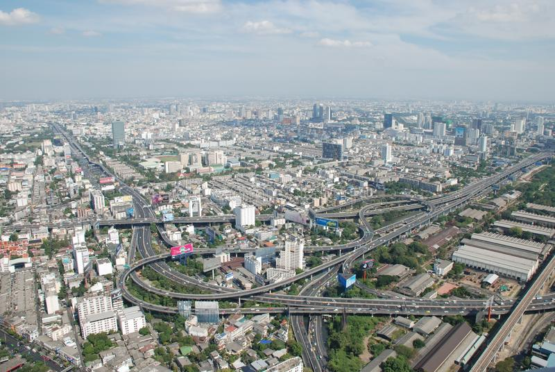 Wonderful view of the huge Bangkok from the top floor of the skyscraper royalty free stock photography