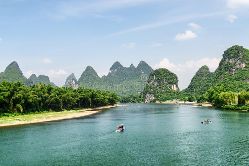 Wonderful view of the Li River with azure water, China royalty free stock photos