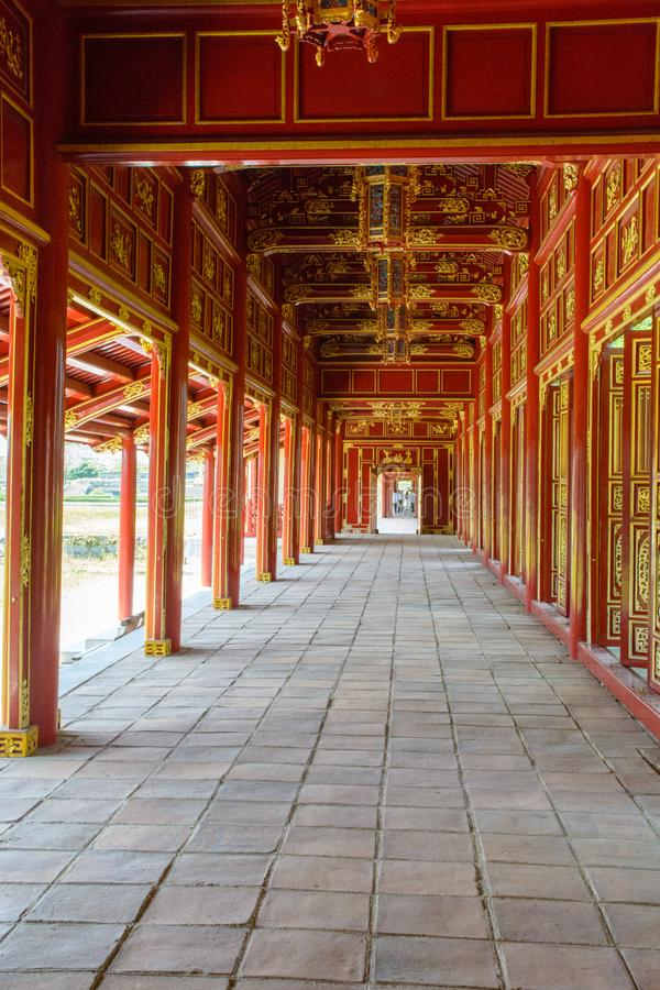 Wonderful view of the Meridian Gate to the Imperial City with the Purple Forbidden City within the Citadel in Hue, Vietnam royalty free stock images