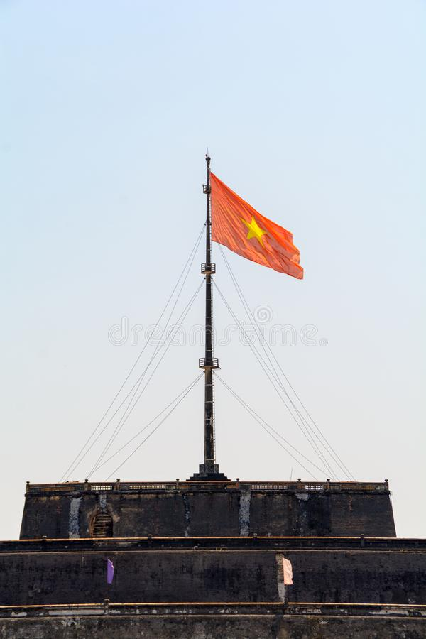 Wonderful view of the Meridian Gate to the Imperial City with the Purple Forbidden City within the Citadel in Hue, Vietnam stock photos