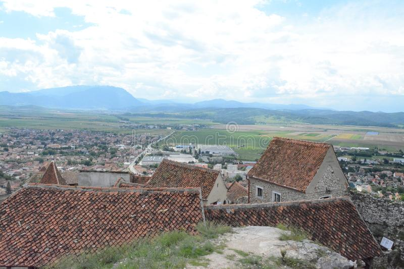 Landscape from the fortress of Rushnov to the city below stock photo