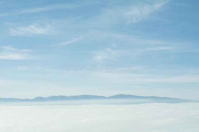 A wonderful view of the sea of fog seen from above stock image