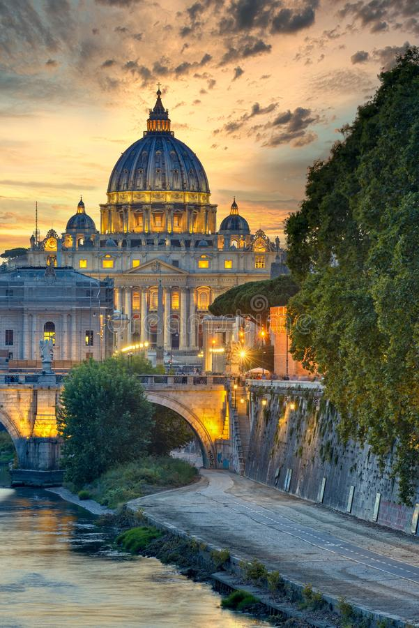 Wonderful view of St Peter Cathedral, Rome, Italy. Sunset light royalty free stock image