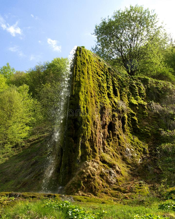 Wonderful view of the unique waterfall Prskalo. Nature of Serbia. The wonderfull waterfall Prskalo is located in East Serbia on the Juzni Kucaj Mountain stock image