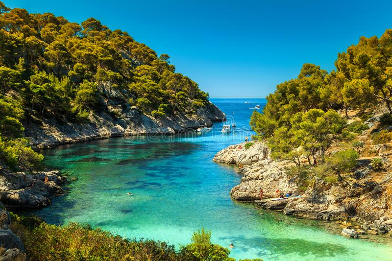 Amazing Calanques De Port Pin in Cassis, near Marseille, France. Wonderful viewpoint from the forest, Calanques De Port Pin bay, Calanques National Park near royalty free stock image