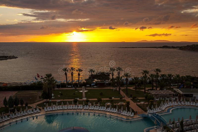 Sunset or sunrise in Didim / Turkey / 09.23.2015 / beautiful background of sea, sky and beautiful sky. Editorial use only. Wonderful views from the terrace of royalty free stock photos