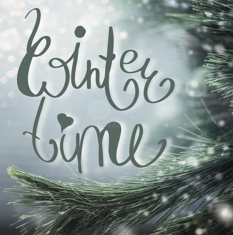 Wonderful winter background with fir branches, snow and Winter time lettering. royalty free stock image