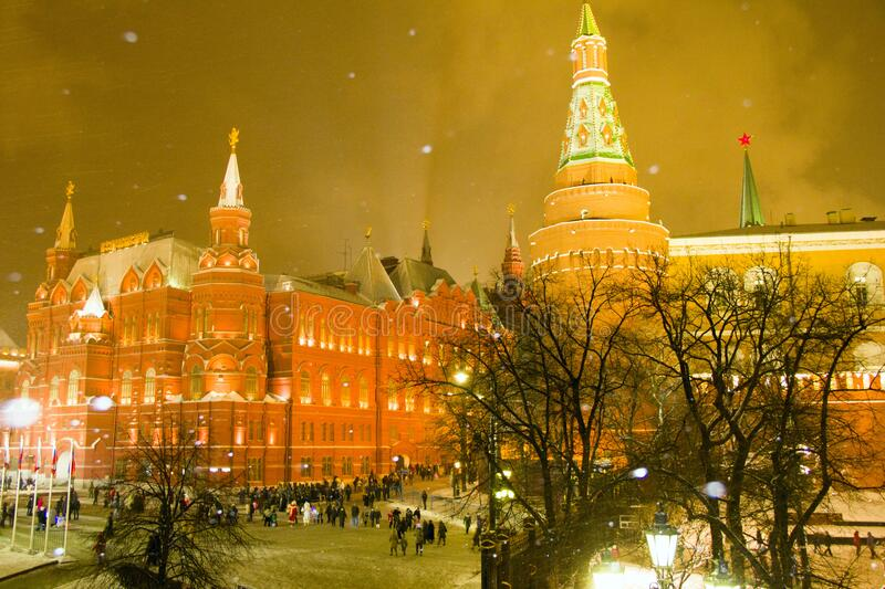 Winter evening in the big city royalty free stock image