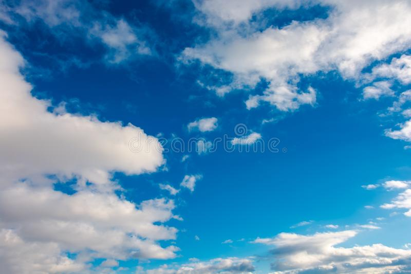 Wonderful winter sky with fluffy clouds. Beautiful nature background stock photo
