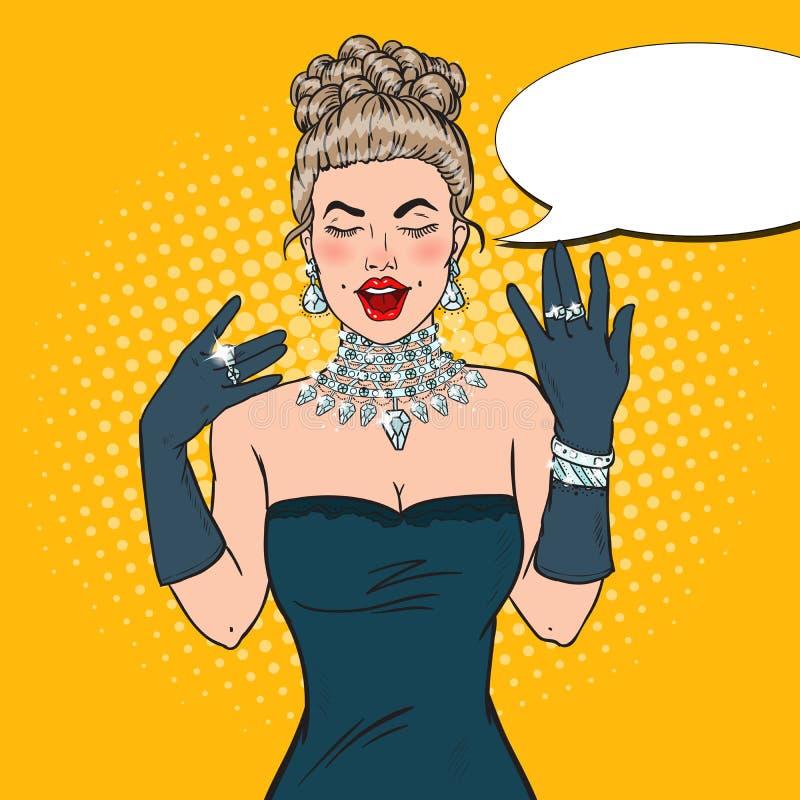 Wonderful Woman in Black Dress with Diamond Jewelry. Pop Art illustration stock illustration