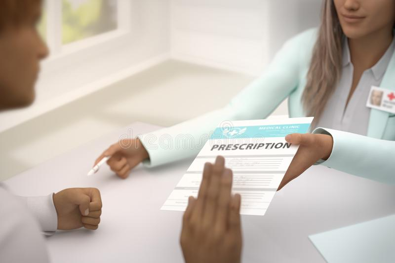 Medical illustration with selective focus - cute female medical doctor gives patient medical prescription and patient do not royalty free illustration