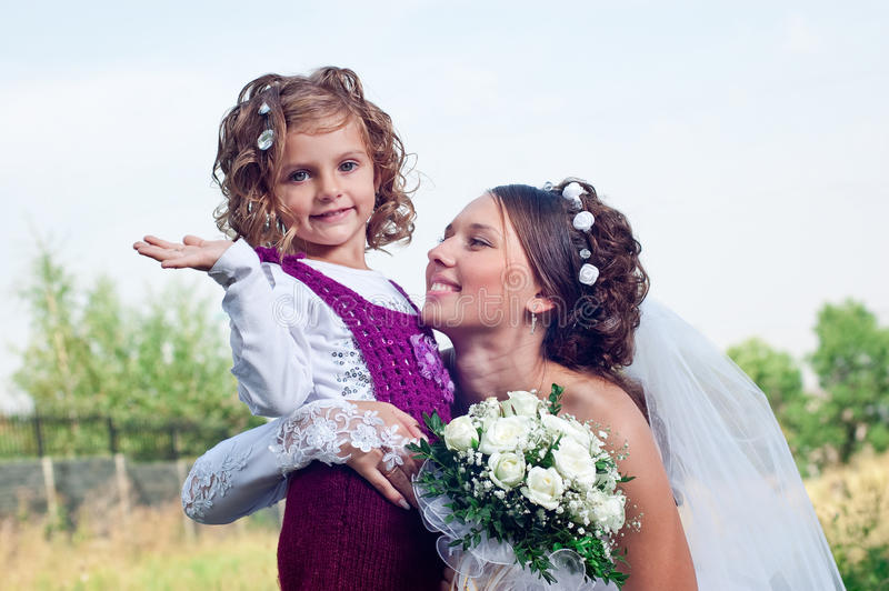Wonderful Young Fiancee And Beautiful Little Girl Royalty Free Stock Images