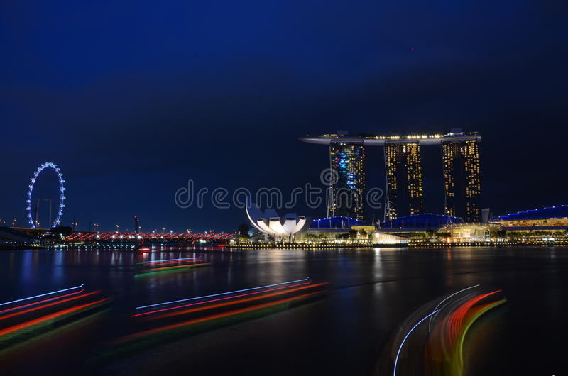 Wonderfull night marina bay royalty free stock photo