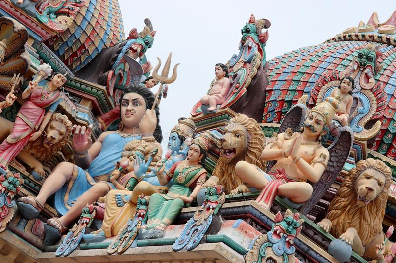 The wonderfull roof of the Sri Mariamman Hindu temple in Chinatown Singapore stock photos