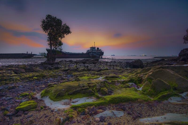 Wonderfull solnedgångBatam ö Indonesien asia fotografering för bildbyråer