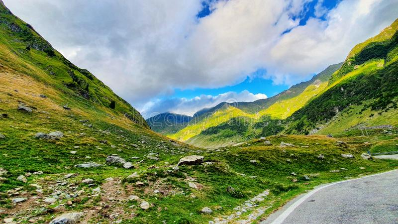 Wonderfull view on Transfagarasan road in august in Romania Carpathian mountains royalty free stock photography
