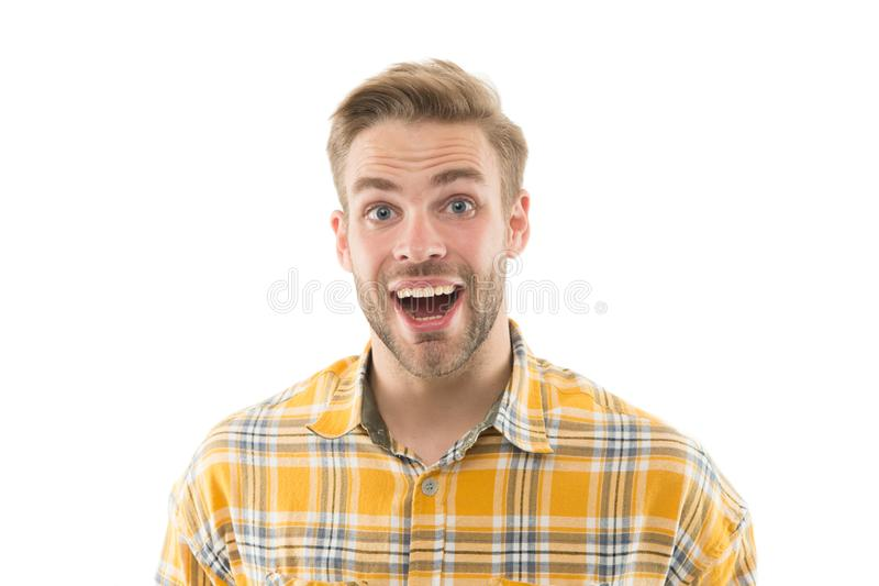 Wondering everyday. Self care. Handsome surprised man white background. Well groomed guy with bristle and nice hairstyle royalty free stock photos