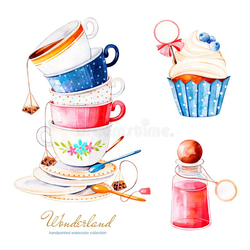 .Magical watercolor set with cupcake and bottle with label for your text. Wonderland collection.Magical watercolor set with cupcake and bottle with label for royalty free illustration