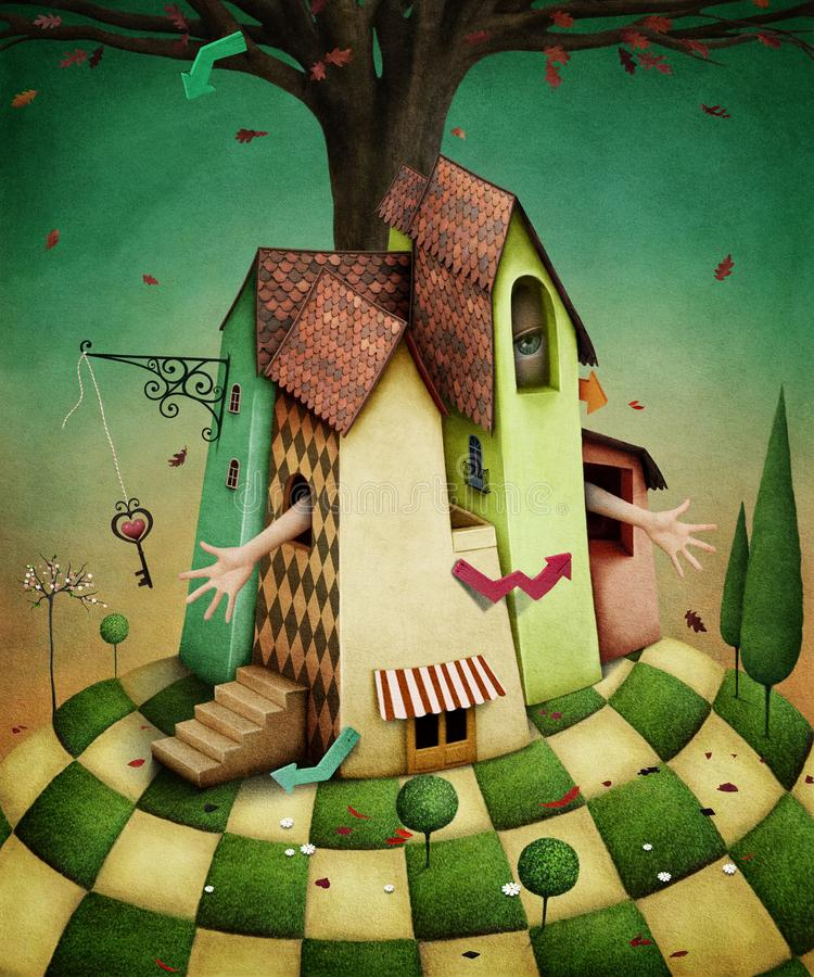 Wonderland House. Conceptual illustration for fairy tale Wonderland house with garden and girl. Computer graphics royalty free illustration