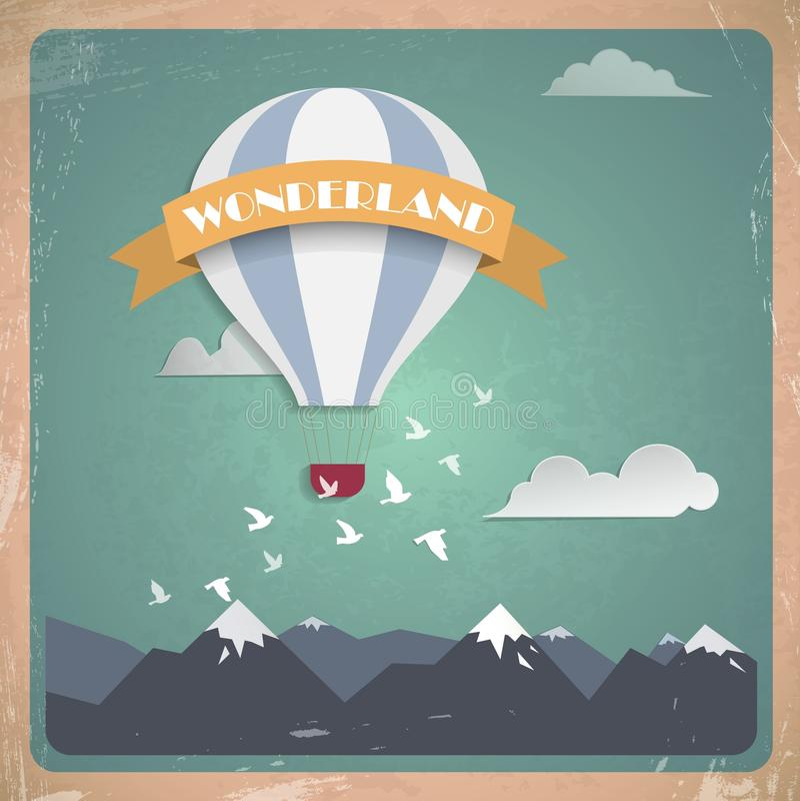 Wonderland. Postcard air balloon mountains retro royalty free illustration