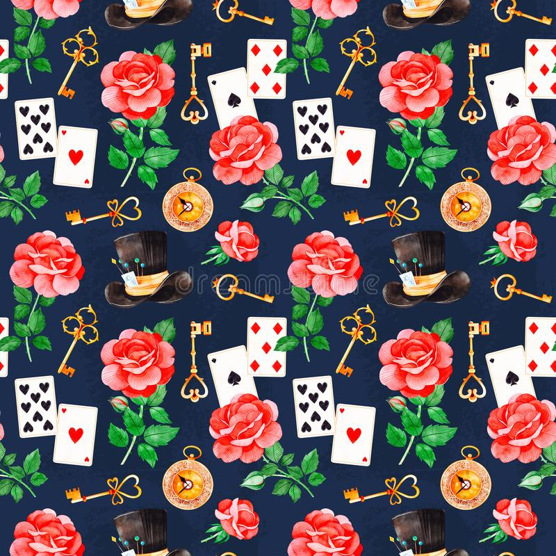 Magical pattern with lovely roses,playing cards,hat,old clock and golden keys royalty free illustration