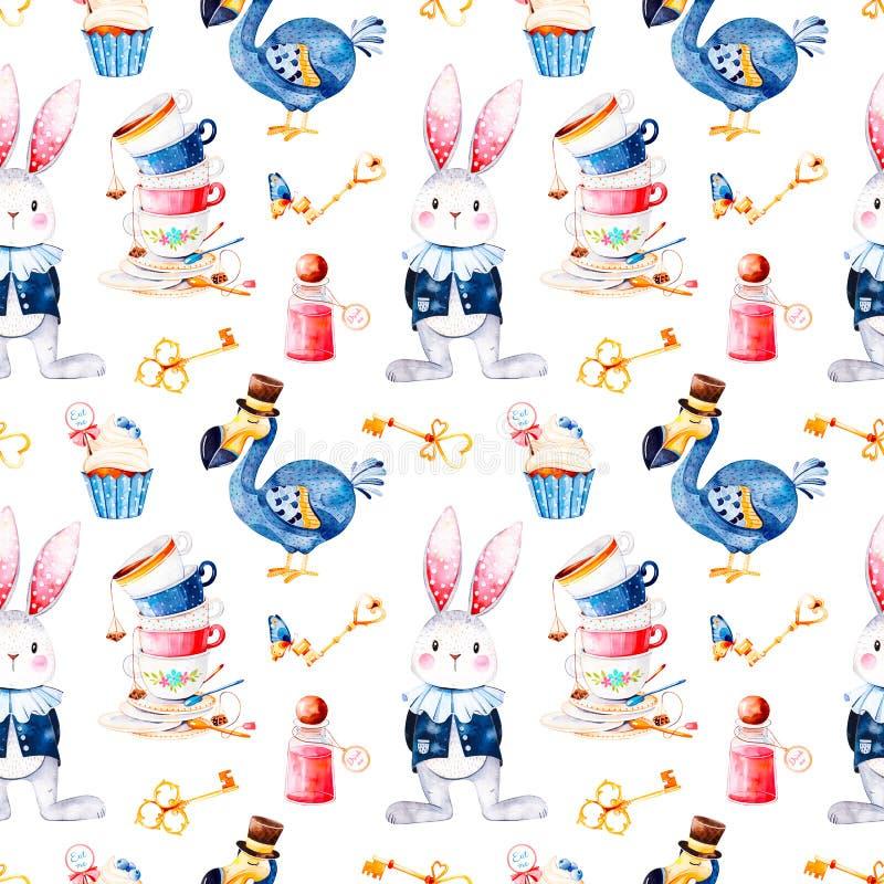 Magical pattern with bottle,Dodo bird,golden keys,cute rabbit in blue jacket,cupcake royalty free illustration