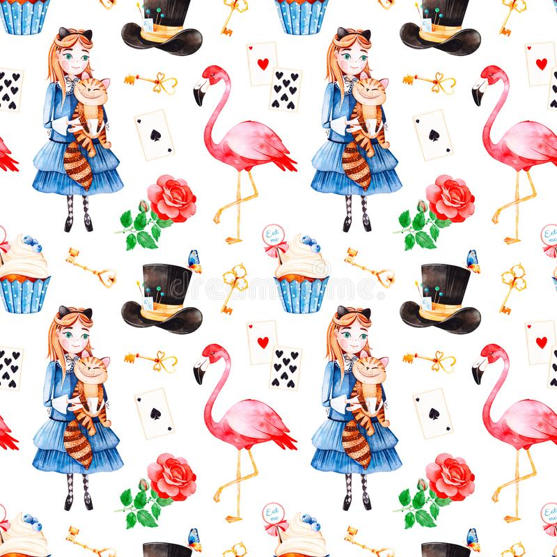 Magical pattern with lovely rose,playing cards,hat,flamingo royalty free illustration