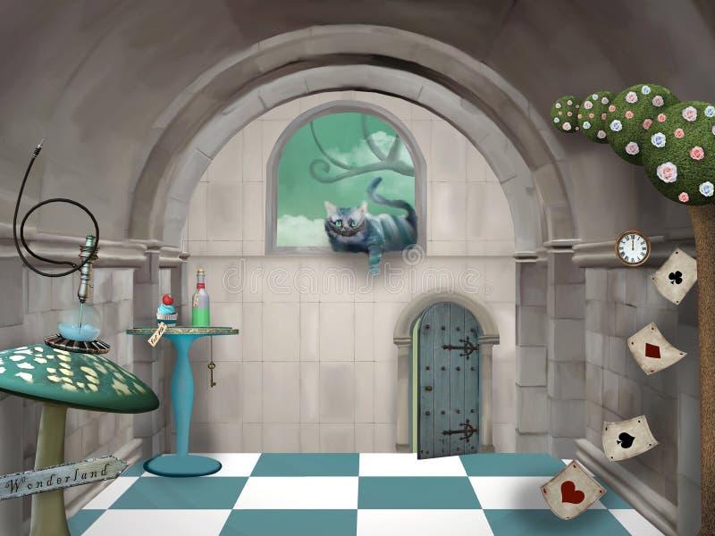 Wonderland Serie - surreal Raum mit Cheshire-Katze und Tisch vektor abbildung