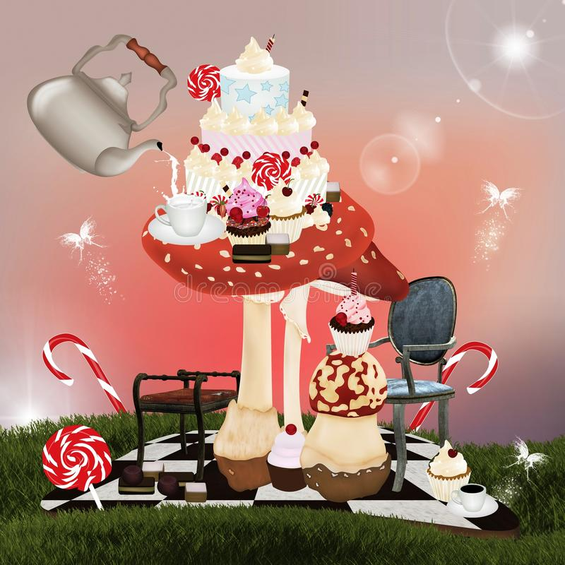 Download Wonderland Series - A Curious Tea Stock Illustration - Illustration of background, fairy: 24638485